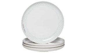 Тарелка белая с бирюзовым рисунком