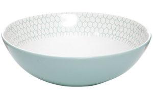 Салатник бело-бирюзовый из керамики