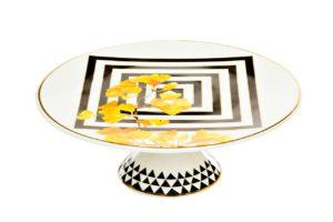 Подставка для торта (желтый орнамент)