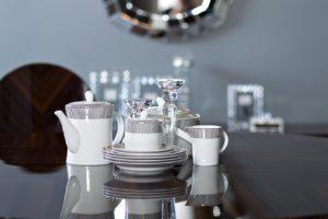 Молочник фарфоровый (серый орнамент)