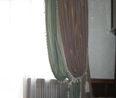Мягкие широкие складки с отделкой из шнура с бахромой